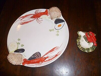 Tre Art Treviso Ceramica Sea Food Platter Hand Painted Made In Italy