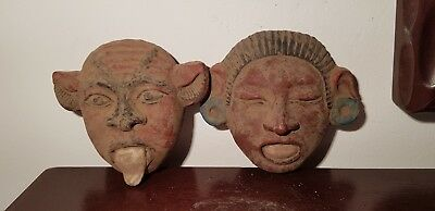 Rare Antique Ancient Egyptian 2 Masks God Bes Defender good things 1640-1550BC