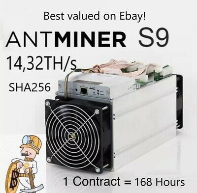 Bitcoin Mining contract 168Hr 14,32TH/s 14320GH - Antminer s9 - SHA256 - 7 Day