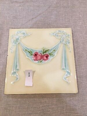 Cream Blue Pink Majolica Roses And Swags 6 Inch Tile