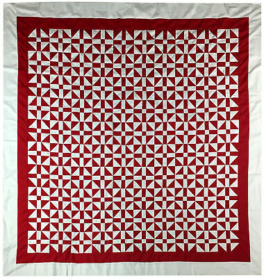 Red & White Churn Dash var. QUILT TOP - Very Graphic