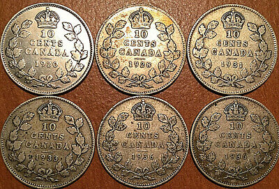 Lot Of 6 Canada Silver 10 Cents Dime Group Of 6 Coins All George V