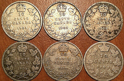 Lot Of 6 Canada Silver 10 Cents Dime Group Of 6 Coins Edward Vickies