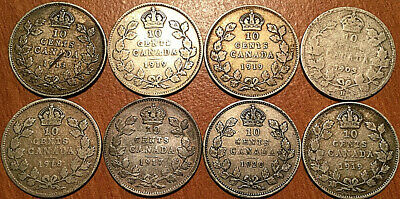 Lot Of 8 Canada Silver 10 Cents Dime Group Of 8 Coins George V Edward