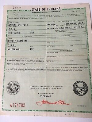 1962 Buick Convertible Historical Document ( Indiana )
