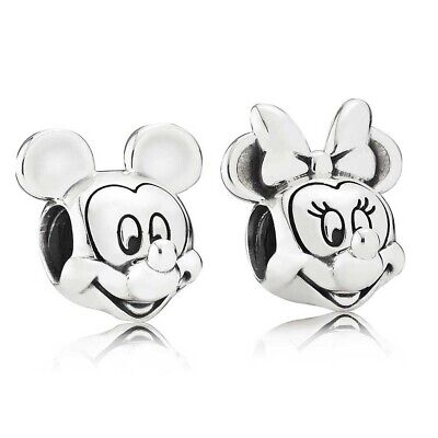 Disney Mickey and Minnie Mouse Silver Charm Bead 'pandora S925 Ale' UK NEW