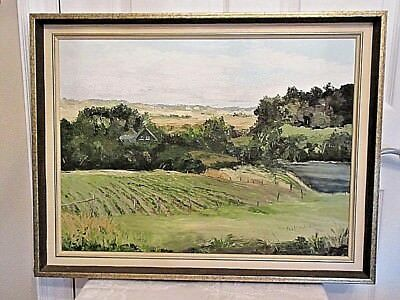 Vintage Canadian Oil On Board Painting Of A Countryside Landscape / Signed