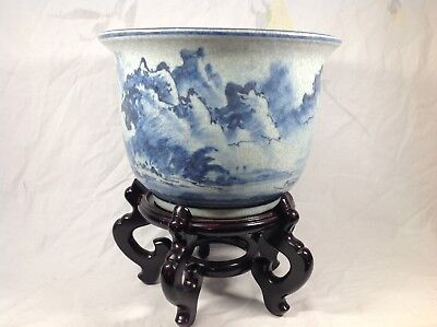 Chinese Blue And White Shanshui Painting Style Pot