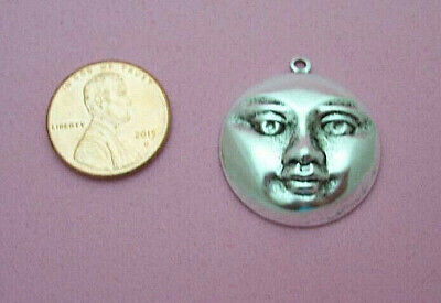 Antique Silver Plated Brass Large Moon Face W/top Ring - 4 Pc