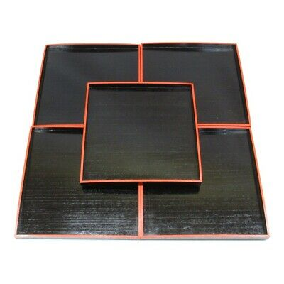 D411: Japanese old red-and-black lacquer ware five square dinner trays