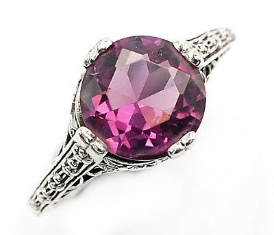 2CT Amethyst 925 Solid Sterling Silver Filigree Ring Jewelry Sz 6