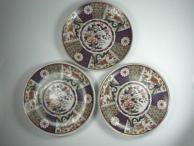Vintage Imari Ware Plates Ornamental Gilt Matching Set of 3 Japan 6.25""