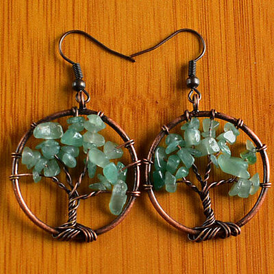 A3982 29x3 Pair Green Aventurine Gravel Tree Of Life Chakra Bronze Earrings