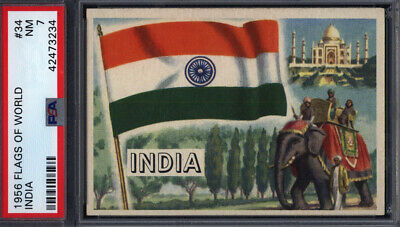1956 Topps Flags Of The World #34 India PSA 7 pop 9 *692381