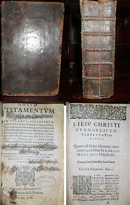 1619 Antique RARE POLYGLOT GREEK & LATIN NEW TESTAMENT BIBLE 1611 King James