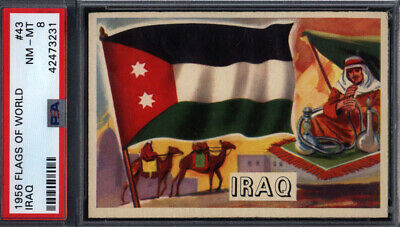1956 Topps Flags Of The World #43 Iraq PSA 8 pop 17 (Only 2 Higher) *692378