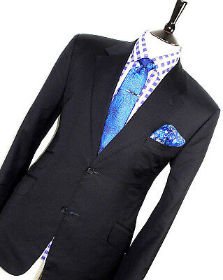 Luxury Mens Bespoke Fully Canvassed London Navy Slim Fit Suit 38S W32 X L28