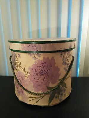 Vintage 1950's Tall Fabric Covered Hat Box with Storage Tray