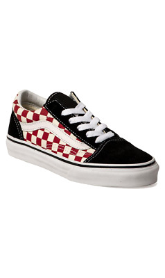 Vans Old Skool Youth Kids Shoes Checkerboard Black Red US sizes