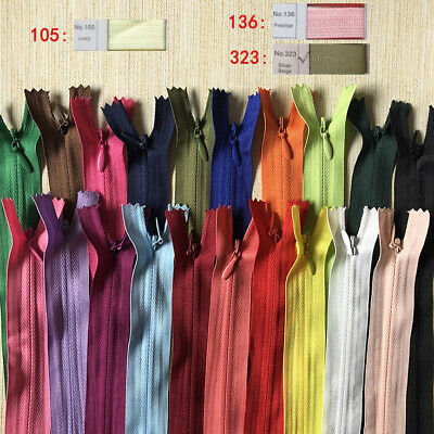 10x Concealed Invisible Nylon Zips Hidden Closed End Zippers Cushion Purse Zips