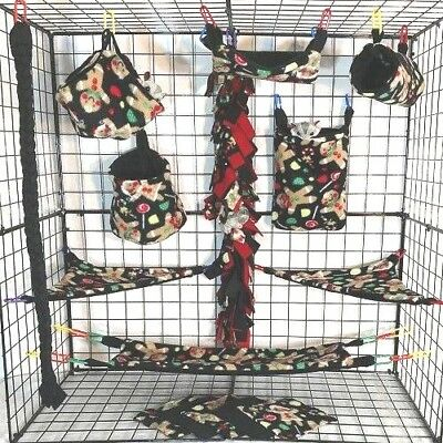 Tossed Gingerbread * 15 PC Sugar Glider Cage set * Rat * double layer Fleece