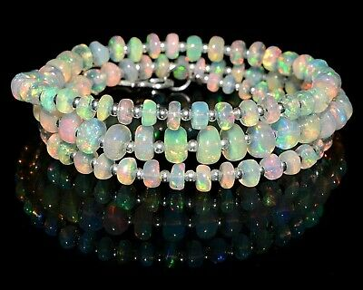 O-1341 Ethiopian Fire Opal Gemstone Plain Bead 925 Sterling Silver 27Ct Necklace