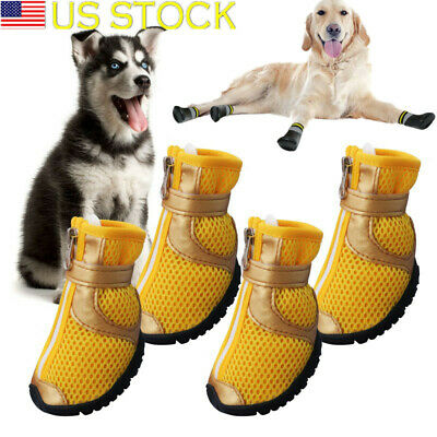 4pcs Dog Shoes Anti-slip Small Large Mesh Boots Booties for Snow Rain Reflective