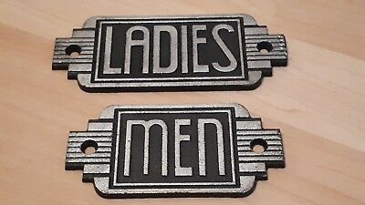 "Men & Ladies - Art Deco Cast Iron Sign Plaques, 6"" Wide."
