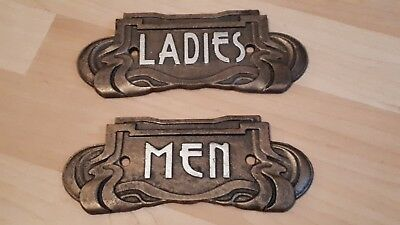 Men & Ladies Toilet Art Nouveau Cast Iron Sign Plaques  18.5cm Wide.