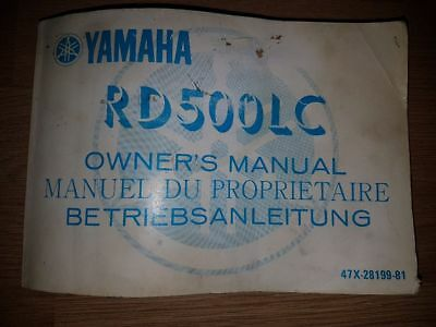 YAMAHA RD500LC Genuine Owner's Manual VERY RARE 1st Ed WITH WIRING DIAGRAM