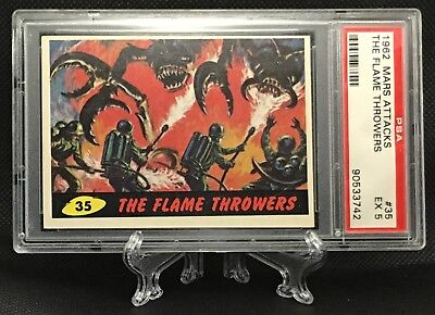 1962 Mars Attacks THE FLAME THROWERS #35 EXCELLENT 5 - Topps garno PSA