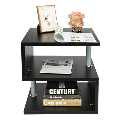 Coffee Table With Storage Cubes.Modern Wood Square Coffee End Side Table With Storage Cube Shelves Black