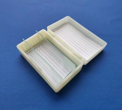 100pcs/lot 10 glass slide storage box 10-place Microscope Slide Case for lab