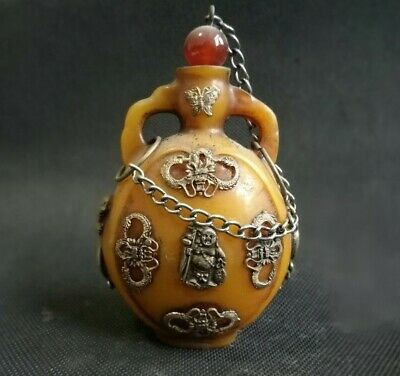 China Old Collectibles beeswax Armored Miao Silver Buddha dragon Snuff Bottle