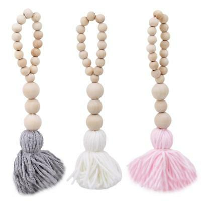 Wooden Beads Tassel Design Wall Hanging Pendant Bedroom Bed Curtain Decor DS