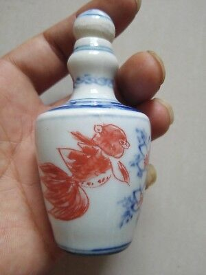 Collectible China handwork Porcelain Painting Fish and Flower Lucky Snuff Bottle
