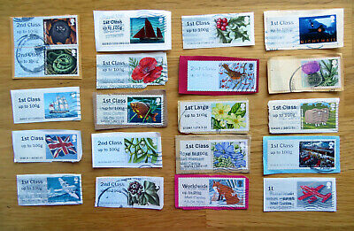 20  GB Post and Go stamps. Used. Trimmed. All different.