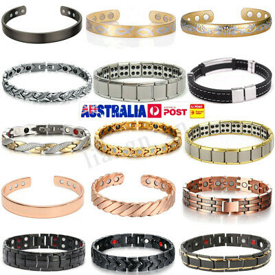 Copper Stainless Steel Magnetic Therapy Energy Bracelet Bangle Health Care Gift