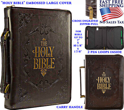 Bible Case Cover Carrying Handle Leather Zippered Large Pocket Gold Cover Title