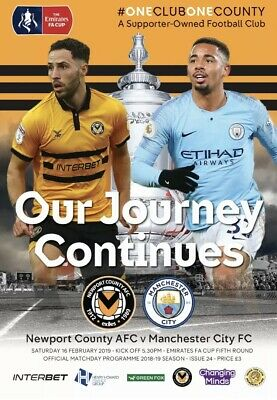 Newport County V Manchester City 16/02/19 FA Cup 5th Round Official Programme!!