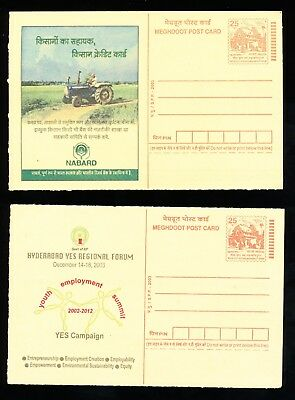2 Indian Meghdoot Post Cards - Agricultural Development, Youth Summit (357)