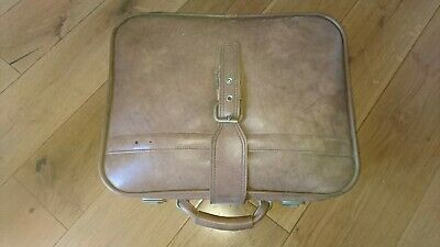 Vintage Retro 1970s Small Suitcase Travel Case Plane Train Luggage Beige