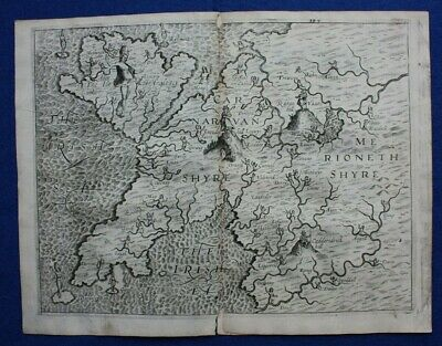 Original antique map NORTH WALES, ANGLESEY, POLY-OLBION EXCERPT, Drayton, 1612