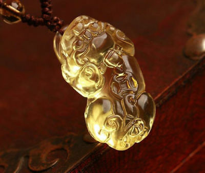 Delicate Chinese natural citrine  carving pi yao talisman pendant 1pc
