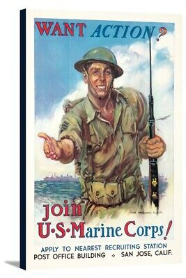 Join the Marine Corps (Flagg) - Vintage Poster (24x36 Stretch Canvas)