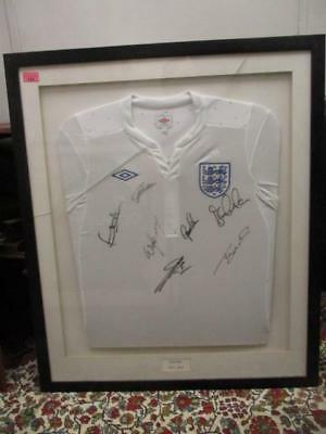 Framed England Football Shirt 2011-2013 With Seven Signatures & a Certificate.