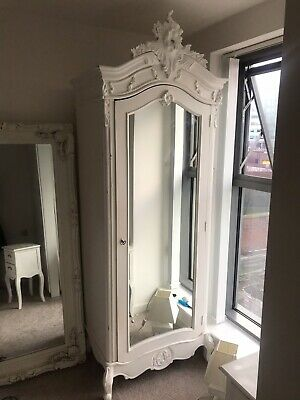 French Rococo Single Armoire Wardrobe In White - Mirrored Single Wardrobe