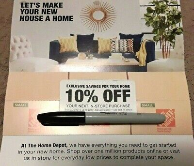 Home Depot 10% Off 1 Coupon Max Savings 200$ In-Store Only Exp 2/25/2019