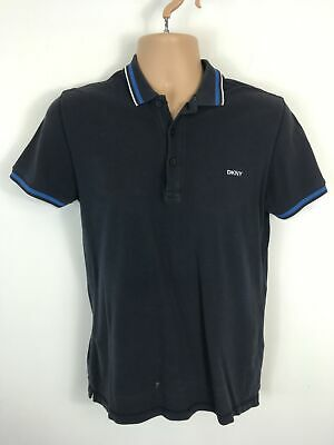 53489758 Mens Dkny Navy Cotton Short Sleeve Button Up Polo Shirt T-Shirt Top Size  Small