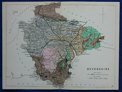 Original antique GEOLOGICAL MAP, DEVONSHIRE, DEVON, RAILWAYS, Reynolds, 1864-89